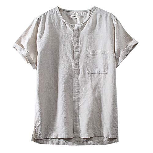 UINGKID Herren T-Shirt, Rundhals-Ausschnitt Slim Fit Baumwollleinen Normallack-Kurzschluss-Hülsen-Atem-s der Art- und Weisemänner übersteigt Bluse