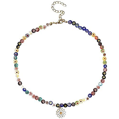 Qserd Y2K Gargantilla con Cuentas De Vidrio Collar De Cuentas De Neón Daisy Rainbow Collar De Cuentas De Perlas Florales para Niñas