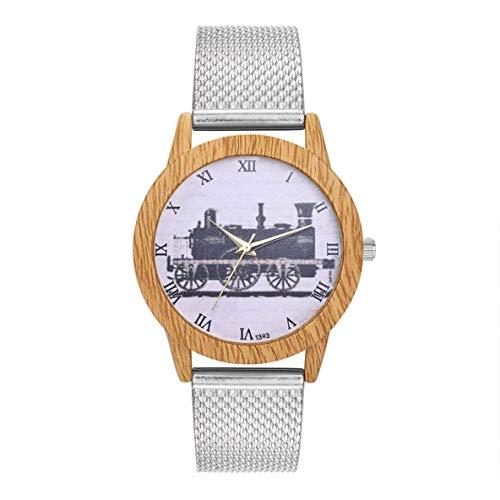CHOUCHOU Colgante Pendientes Cuarzo con Encanto Reloj Elegante Casual de Las señoras Redondo Grande Reloj de Pulsera Accesorios de la joyería DecorationT393-F, Color: Oro (Color : Silver)