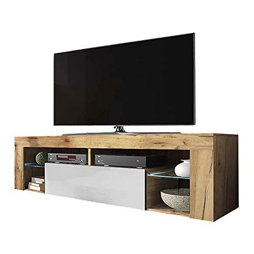 Selsey Bianko – TV-Lowboard/TV-Schrank in Holz-Optik mit Klappe und LED-Beleuchting Stehend, Lancaster Eiche/Weiß Hochglanz, 35 x 140 x 51 cm
