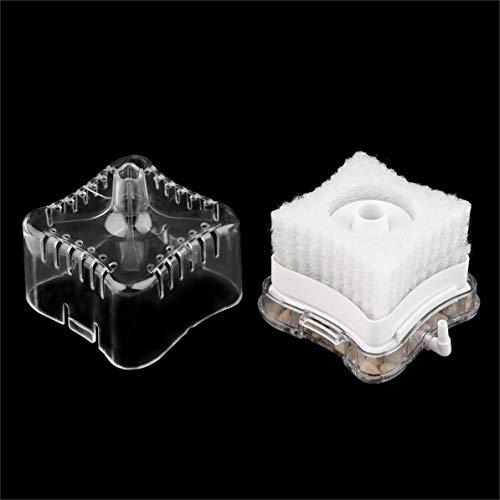 WEIWEITOE Plástico acrílico Oxígeno Accionado por Aire Esponja bioquímica Tanque de Peces Filtro de Agua de carbón súper Activado Filtro de Acuario, Claro y Blanco,