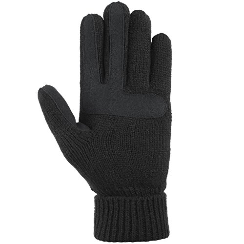 isotoner Women's Smartouch Solid Triple Cable Knit Glove with Palm Patches, One Size, Black