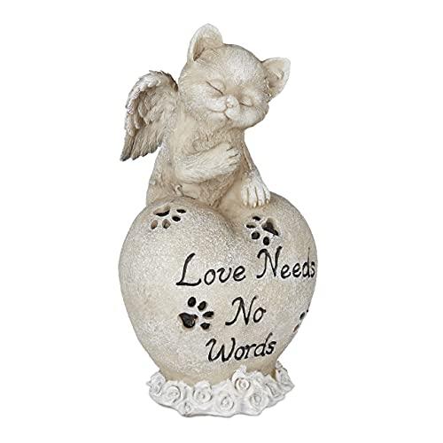 Relaxdays Grabschmuck Decoración para Tumba Gatos, Recuerdo de Animales, lápida, corazón y ángel de Gato, Piedra Conmemorativa, Resistente a la Intemperie, Color Crema, Beige
