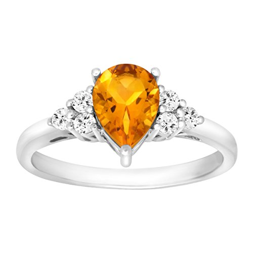 1 1/5 ct Natural Citrine & White Topaz Ring in Sterling Silver