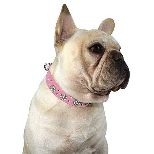 Hifrenchies Collares de perro con diseño de flores de diamantes de imitación, de piel sintética con diamantes de imitación para Frenchie Bulldog/pequeño perro mediano gato (M,rosa).