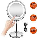 TF-Bunix Specchio da trucco con illuminazione a LED - Specchio con ingrandimento 7 volte - Regolabile 360 ° girevole