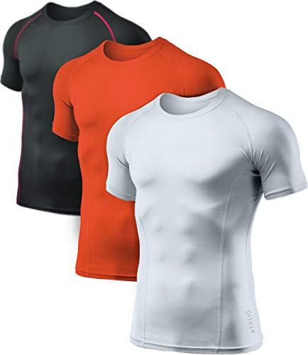 ATHLIO Men's Cool Dry Short Sleeve Compression Shirts, Sports Baselayer T-Shirts Tops, Athletic Workout Shirt, 3pack(bts02) - Black/White/Orange, X-Large