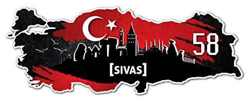 Aufkleber Sticker Türkei 58 Sivas Motiv Fahne für Auto Motorrad Laptop Fahrrad