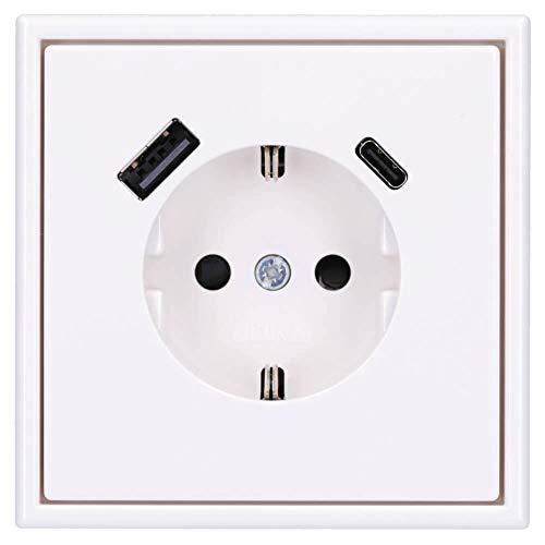Jung SCHUKO USB-Steckdose Typ AC Komplett-Set Serie LS: Steckdose LS152015CAWW und 1-fach Rahmen LS981WW Alpinweiß