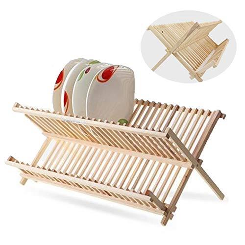 Faltbarer Holzschalen-Wäscheständer Haushaltswaren-Abtropf-Wäscheständer Starke Tragfähigkeit 2 Ebenen Plattenständer Besteckhalter Utensilien-Organizer Für Aufbewahrungshalter Für Küchentheken