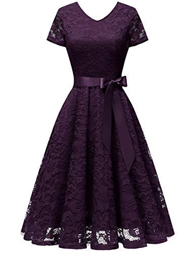 bridesmay Damen 50S Retro Spitzenkleid Kurzarm Elegant Brautjungfernkleid Abendkleider Grape M
