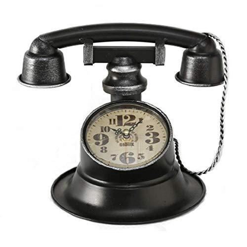 Home Collection Hogar Muebles Decoración Accesorios Interior Exterior Reloj en Forma de Teléfono Vintage Hierro Negro