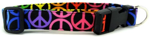K9 Bytes Rainbow Peace Signs Soft Adjustable Dog Collar with Quick Release Buckle Large