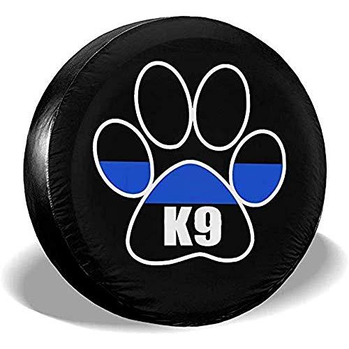 Beth-D Thin Blue Line K9 Paw wasserdichte Ersatzreifen-Abdeckung, passend für Anhänger, Wohnmobil, SUV, LKW, Reiseanhänger, Zubehör 35,6-43,2 cm