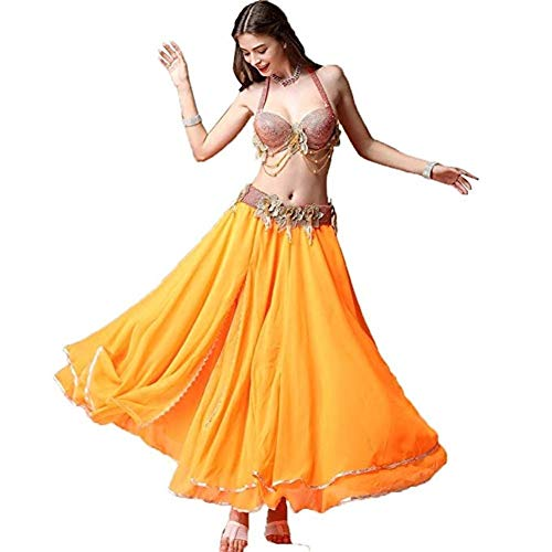 Zjx Dance Skirt, Female Belly Dance Dance Costume Costume Suit Adult (Color : Orange, Size : XL)