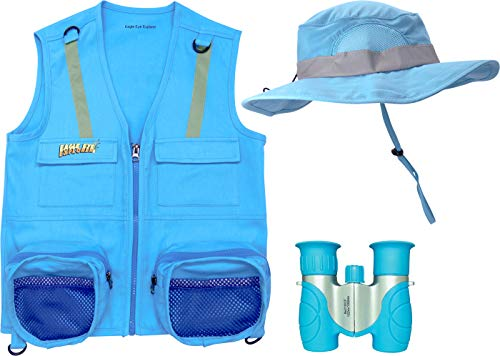 S/M Blue 3 Piece Set Cargo Vest with Reflective Safety Straps, 1 8x21 Magnification Binoculars and Safari Hat for Boys and Girls (Small/Medium, Light Blue Vest, Hat and Light Blue Binoculars)