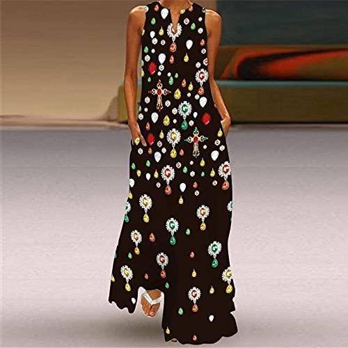 Vestido Largo Bohemio,Vestido De Mujer Joyas De Colores Impresión En 3D Escote En V Negro Sling Maxi Vestido De Bolsillo Falda De Swing De Gran Tamaño Informal Fiesta De Primavera Y Otoño Vestido