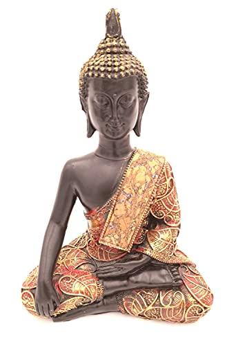G.W. Buddha-Figur meditierend sitzend, 21 cm in schwarz Gold, Deko-Artikel für Wohnung & Haus, Buddha-Skulptur, Wohnaccessoire, schöne Thai Statue