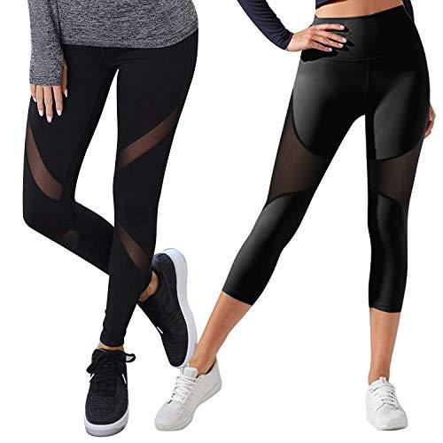 GoVIA Mesh Leggings Damen Sporthose mit Netzeinsätzen Workout High Waist 4107+4135K Gr.S/M