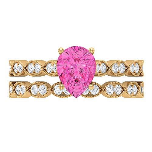 Rosec Jewels 14 quilates oro amarillo pera Round Brilliant Pink Moissanite zafiro sintético rosa
