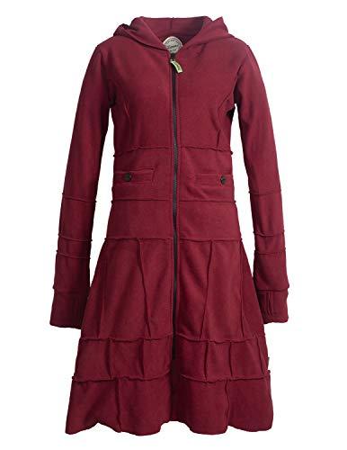 Vishes - Alternative Bekleidung - Langer Warmer Weicher Damen Winter Fleecemantel Kapuze Stehkragen Dunkelrot ohne Kragen 38