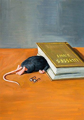 Postkarte A6 • 77902 ''Die Leseratte hat aufgegeben'' von Inkognito • Künstler: Rolf Tiemann • Satire