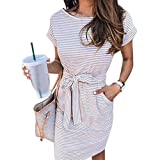 XS-3XL Women Dress Casual Summer Dress with Belt Women Clothing Elegant Ladies Women's Dresses,Pink,XXL