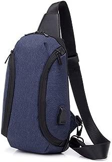 YXHM AU Fashion Oxford Cloth Waterproof Chest Bag Men's Casual Small Bag Multi-Function Wild Trend Shoulder Bag (Color : Blue)