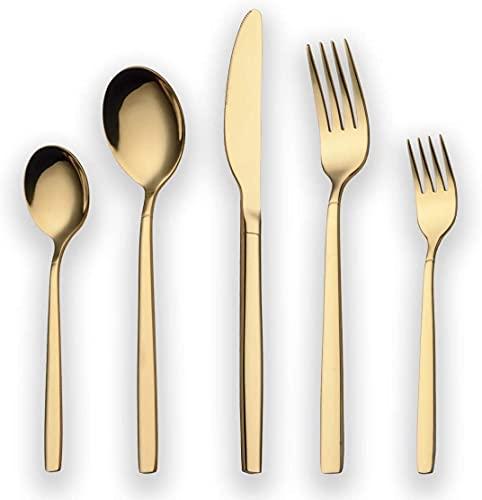 vanpow 30 Stück Titan-Stahl-Edelstahl-Besteck, 30 Stück Besteck-Set mit 6 * 5 Messer/Gabel/Löffel/Multi-Color-Besteck-Set Besteck für 6 Personen (Color : Gold)