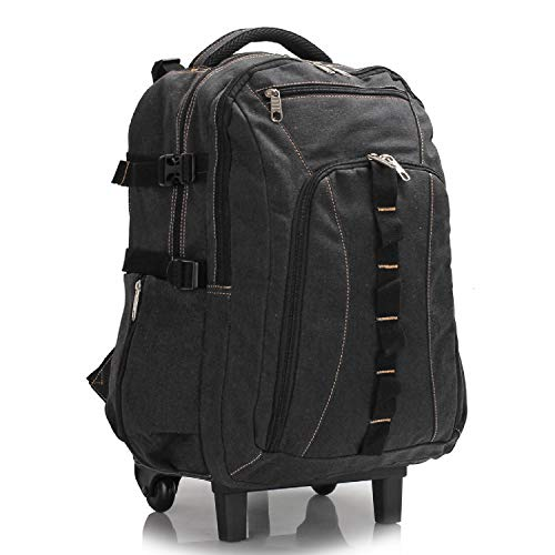 Black Backpack with Wheels, Travel Rucksack on Wheels, Cabin Size Trolley Wheeled Backpack & Luggage Bag for Men Women