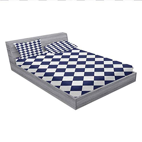 LCGGDB Blue Bed Fitted Sheet Set,Classical Old Fashioned Checkered Pattern Geometric Diagonal Skewed Squares,1 Fitted Sheet and 2 Pillowcases,Cal-King Size,Navy Blue and White