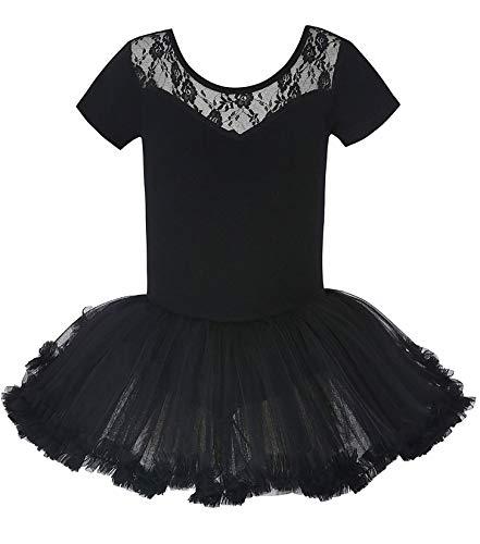 MdnMd Short Sleeve Lace Dance Ballet Tutu Soft Skirt Leotard Ballerina for Girls Toddler (Black, 10-12 Years)
