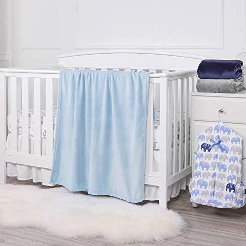 TILLYOU Micro Fleece Plush Baby Blanket Large Lightweight Crib Blanket for Toddler Bed, Super Soft Warm Kids Blanket for Daycare Preschool, Fluffy Fuzzy Flannel Nap Blanket Oversized, 40x50 Lt Blue