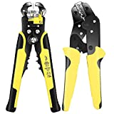 Wire Crimpers Strippers Tool Kit (2 PCS), Interchangeable Jaws (24-10 AWG) Wire Terminal Crimper and Stripping Pliers (34-3 Gauge), Insulated Ratcheting Terminals Connectors Crimping and Stripping Set