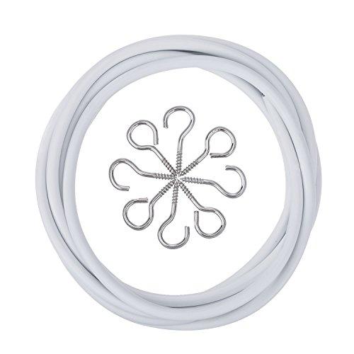 Outus Weiße Vorhangdraht mit 4 Augen und 4 Haken (2 M)
