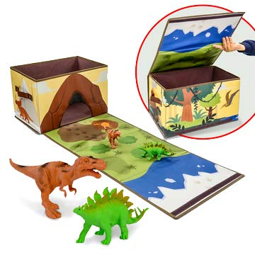 Ivy Step Fold Out Dinosaur Toy Box and Storage Bin with 7' Tyrannosaurus Rex and 6' Stegosaurus