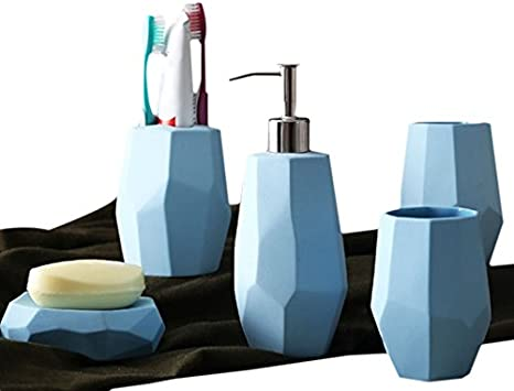 Light Blue STARmoon Acrylic 4 Piece Bathroom Accessory Set Soap Dispenser Bottle Soap Dish Cup Toothbrush Holder Case Caddy