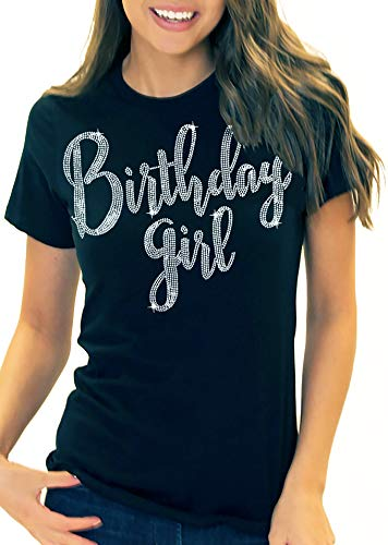 Birthday Shirts for Women - Rhinestone Birthday Girl T-Shirt - Birthday Gifts for Adults and Teens - Large Black Tee(BdyGrl RS) Blk/Lrg