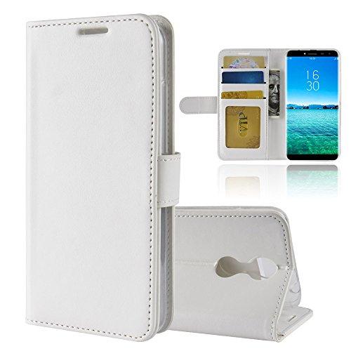 GARITANE Hülle für Oukitel C8 3G/C8 4G,Handyhülle Hülle mit Magnet Ständer Kartenfächer Schutzhülle Retro Lederhülle für Oukitel C8 3G/C8 4G (Weiß)