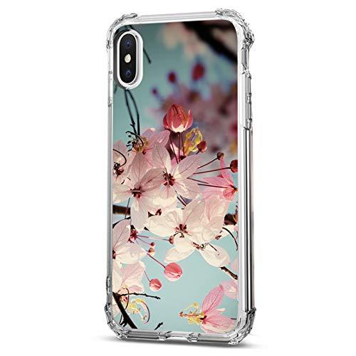 SGKITM Carcasa iPhone X/XS/XS MAX Funda Clear Suave Silicona TPU Estuche Flor Hoja Paisaje Patrón Case Ultra Delgado Airbag Anti Choque Proteccion Caja para Apple iPhone XS MAX (X / XS, 4)