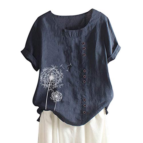 AMhomely Womens Casual Loose Button Linen Plus Size Print Boho Tanic Shirt Blouse Tops Navy