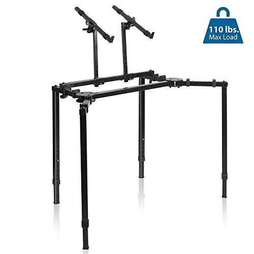 Pyle Multi-Functional Mixer T Height & Width Adjustable w/Ergonomic Design, On-Stage Heavy Duty & Compact Digital Keyboard Stand, Rack Case, for Home Studio & Travel PKST55