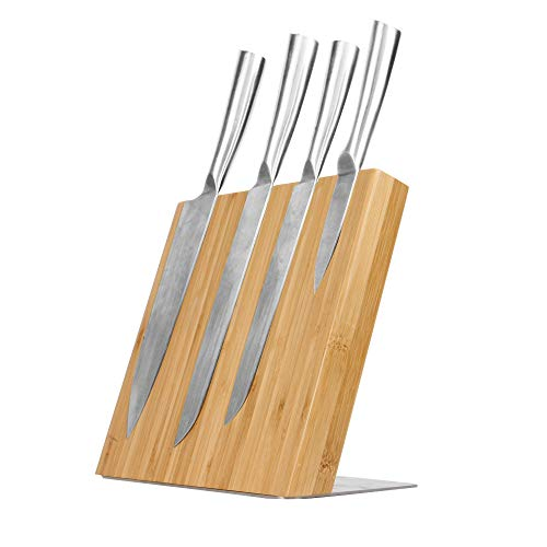 Cuchillo de bambú magnético portabloque | Soporte para cubiertos ecológico | Organización de la cocina de bambú | M&W