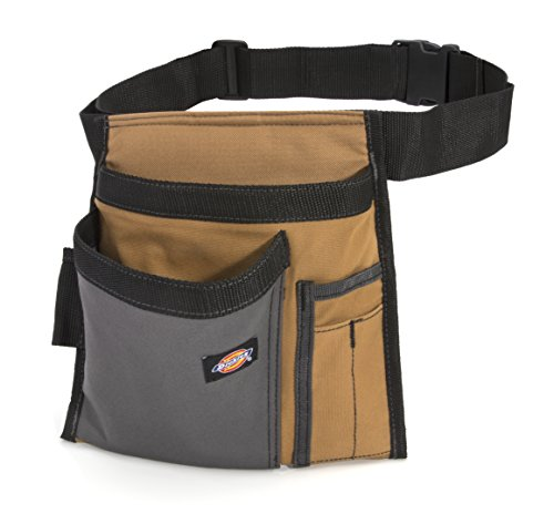 Dickies 5-Pocket Single Side Tool Belt Pouch/Work Apron for Carpenters and Builders, Durable Canvas Construction, Adjustable Belt for Custom Fit, Grey/Tan