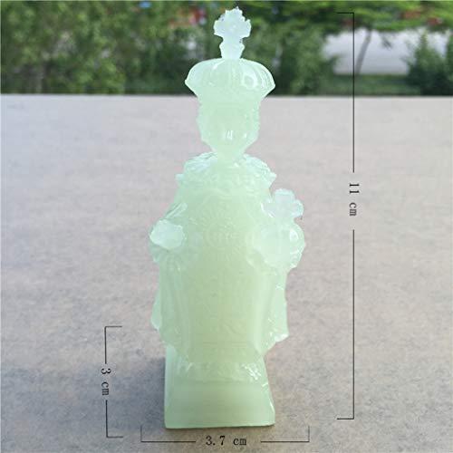 LIAOLEI10 Escultura Brillantes Figuras de la Virgen y el niño Piedra de Jade Artificial Estatuas de la Virgen María Jesús Decoraciones navideñas para el hogar, niño