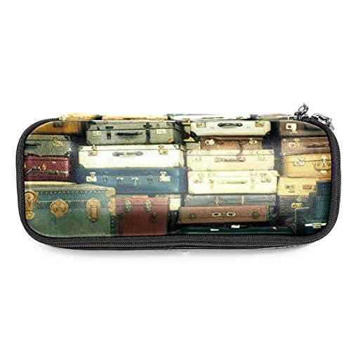 Vecchio Vintage Valigie Astuccio Grande Capacità Penna Marker Holder Pouch Box Organizzatore Sacchetto Sacchetto Trucco per Scuola Ufficio Adulto Ragazza Ragazzo