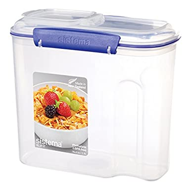 Sistema KLIP IT Utility Collection Cereal Container, 94.0 oz./2.7 L, Clear/Blue
