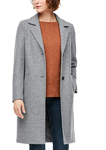 s.Oliver Damen Wollmix-Mantel mit Ziernähten grey melange 38