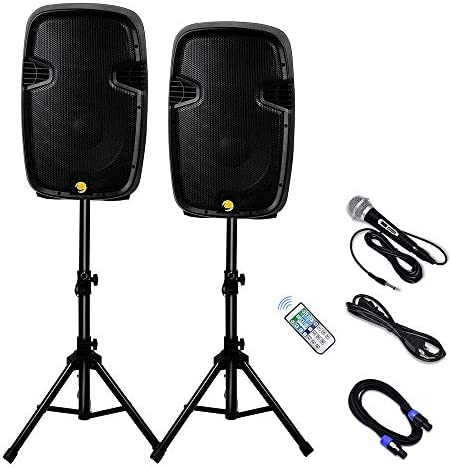 La fete Dual 2 Way 2000 Watts Powered PA Speaker System 12 Portable DJ Speaker with Active Passive product image