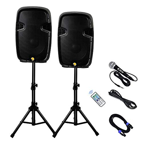 La fete Dual 2-Way 2000 Watts Powered PA Speaker System, 12'' Portable DJ Speaker with Active + Passive Speakers, 2 Speaker Stands, Microphone, Bluetooth, USB/SD Card, FM Radio, Remote Control